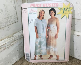 Easy stitch n save pattern from McCalls, McCalls 2001, misses dress and jacket, sizes 8-14 from 1999,  uncut pattern, easy sewing
