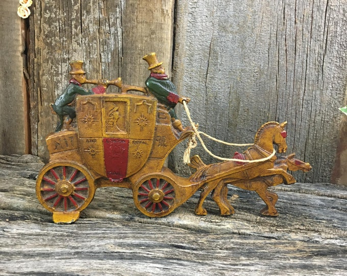 Featured listing image: Fabulous 1930's cast iron doorstop, London Royal Mail Coach by Charles Tuteur, 1930's coch doorstop, 1930's cast iron decor, Royal Mail deco