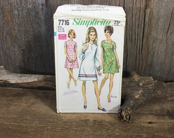 Vintage Simplicity 7716, Simplicity pattern from 1968, Simplicity 1960's dress in two lengths pattern, sewing pattern vintage 1960's dress