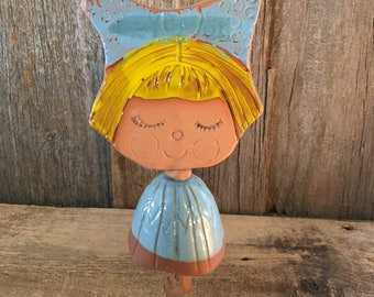 Vintage 1968 Pacific Stoneware wind chime, vintage little girl bell, vintage yard art, vintage patio decor, Pacific Stoneware adorable art