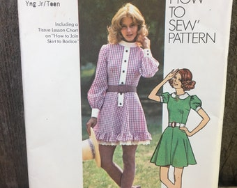 Vintage Simplicity 9803, Vintage Simplicity pattern from 1971, Simplicity 9803 size 9/10, bust 30 1/2, junior, teens, misses mini-dress