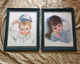 Frances Hook lithographs, Northern Tissue kids, vintage Frances Hook lithographs, frances hook pictures, vintage advertising lithographs