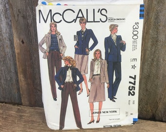 Vintage McCalls 7752 Jones of New York pattern from 1981, size 8 McCalls pattern, Jacket, skirt and pants pattern, vintage sewing pattern