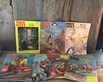 Lot of seven True West magazines, vintage True West magazines, 1960's lot of western magazines, American Old West history magazines