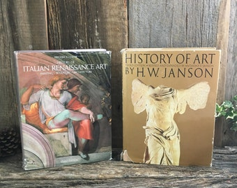 Vintage art books, History of Art by H.W. Janson, History of Italian Renaissance Art by  Frederick Hartt, pair of large art history books