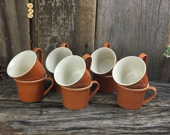 Ten Imperial by W. Dalton coffee cups, 10 stoneware coffee cups, Imperial Tangerine coffee cups, vintage set of coffee cups, set of 10 mugs