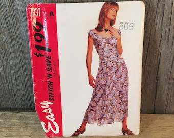 McCalls 7037 stitch n save, easy McCalls pattern, 1994 McCalls dress sewing pattern, vintage sewing pattern, stitch n save 2616 easy pattern