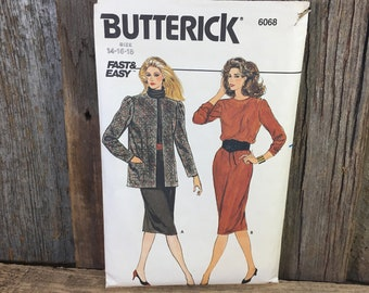 Vintage sewing pattern, Butterick 6068, 1980's jacket and dress pattern partially cut size 14, 16, 18, 80's jacket and dress pattern