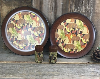 Vintage Fred Roberts African animal trays,Vintage Fred Roberts African animal salt and pepper shakers,Fred Roberts made in Japan kitchenware