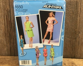 Simplicity Project Runway pattern, uncut Project Runway, Simplicity 1650 from 2013, dress in two lengths with peplum and sleeve variations