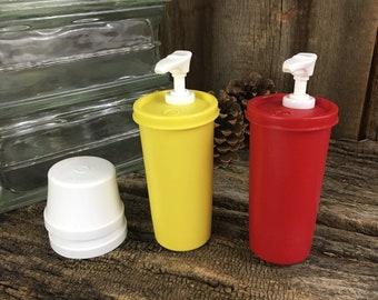 Vintage Tupperware mustard and ketchup dispenser, Tupperware condiment holders, Tupperware condiment dispensers, vintage kitchen containers