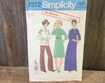Vintage uncut Simplicity sewing pattern, Simplicity 7272 from 1975, Dress two lengths, blouse, size 14 uncut vintage sewing pattern