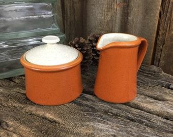 Imperial by W. Dalton cream and sugar, stoneware cream and sugar, Imperial Tangerine cream and sugar, vintage cream and sugar set, stoneware