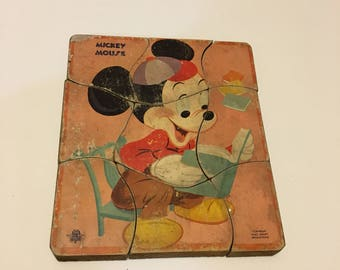 Mid Century Walt Disney puzzle, The Gong Bell Mfg., Co. Puzzle, Mickey Mouse wooden puzzle, double sided puzzle Mickey and Pluto