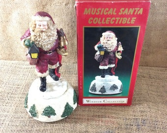 Vintage musical Santa collectible, Windsor collection, plays music we wish you a Merry Christmas, vintage Christmas figurine, Santa figurine