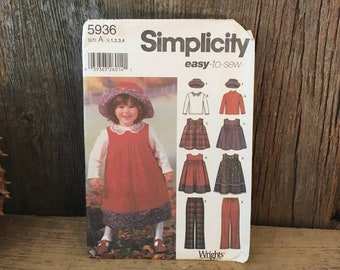 Simplicity 5936 easy to sew little girls toddler pattern, Simplicity 5936 size 1/2-4, Toddlers jumper sewing pattern with hat pants and top