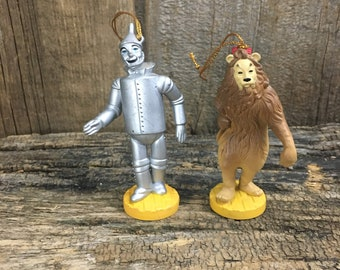 Vintage Wizard of Oz ornaments, Tin Man ornament, The Cowardly Lion ornament, 1987 Turner Wizard of Oz ornaments, Collectable Wizard of Oz