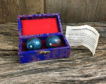 Beautiful vintage Chinese chiming exercise balls, Chinese Baoding Balls, Chinese chiming health balls, ornate chiming dragon baoding balls