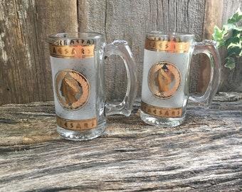 Vintage Caesars glass handled beer mug, Casino glass mugs, Caesars Palace Souvenir mugs, Roman decor, frosted and gold Caesars glass mug