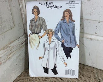 Very easy Very Vogue pattern 8665, Butterick 8665, uncut very loose fitting pull over shirt in three lengths, 2.50 US Shipping, vogue shirt