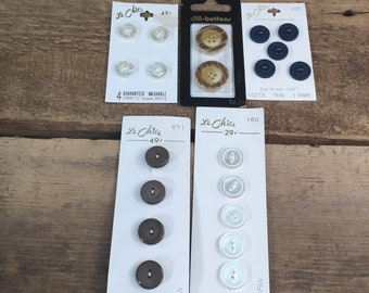 Five sets of vintage buttons never used, never used original package vintage buttons, le chic buttons, dill buttons, new vintage buttons