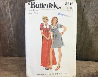 Vintage Butterick sewing pattern, Butterick 3212, young junior teen dress pattern, semi fitted dress, a line sewing pattern, vintage sewing