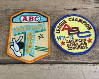 Vintage 1970's bowling patches, abc bowling patches, american bowling congress patches, triplicate award bowling patch,league champion patch