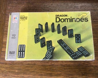 Vintage Dragon Dominoes from 1970, 1970 Milton Bradley's Halsam Double Twelve dominoes, vintage dominoes game, Dragon dominoes, vintage gift