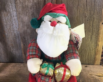 Vintage large plush Santa Claus, vintage Holiday decor, International Christmas, big fluffy Santa Claus, Santa Claus collectible, holidays