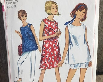 Vintage Simplicity 6551 pattern from 1966, vintage maternity sewing pattern, Simplicity primer pattern, size 10 maternity pattern, 1960's