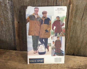 Vintage uncut Vogue sport pattern from 1991, Butterick vogue 8180, unisex uncut pattern for a duffle style coat/jacket, parka pattern