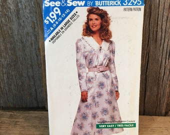 Butterick See and Sew 3295 vintage sewing pattern, See & Sew Butterick size 6-8-10-12-14 sewing pattern, misses dress pattern, vintage dress