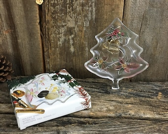 Savoir vivre colorful glass candy dish, Beautiful Holiday candy dish, Christmas candy dish, Holiday Spirit Christmas Tree server,