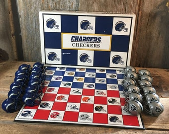 NFL checkers game, football checkers game, Chargers and Raiders checkers game, vintage checkers game, NFL checkers San Diego and Los Angeles