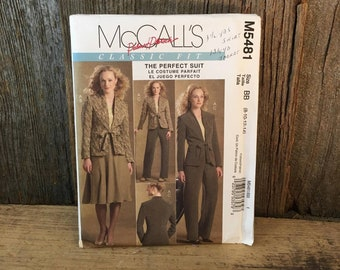Uncut McCalls M5481 sewing pattern, Palmet Pletsch sewing pattern, uncut size 8-14 suit sewing pattern, jacket skirt and pants pattern