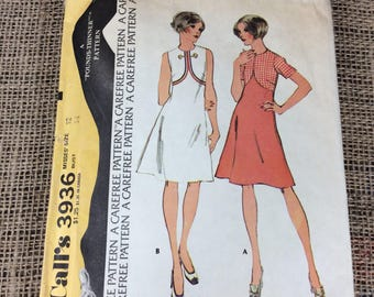 Vintage McCalls pattern, pattern 3936, McCalls 3936, high waisted vintage dress pattern, 1970's sewing pattern, 2.00 US shipping