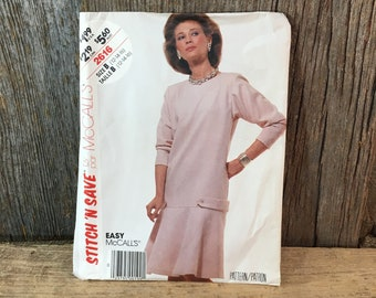 McCalls 2616 stitch n save, easy McCalls pattern, 1986 McCalls dress sewing pattern, vintage sewing pattern, stitch n save 2616 easy pattern