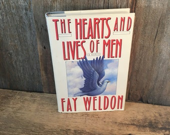 The hearts and lives of men book, Fay Weldon romantic fiction, vintage book collector, vintage love story. vintage fiction book, vintage