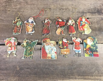 Great vintage Santa Claus's, Santa Claus ornament lot, 12 Merrimack Publishing Corp., 1977 Christmas ornaments, vintage Holiday ornaments