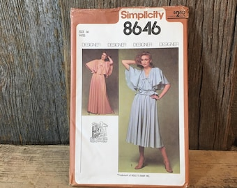 Simplicity 8646 sewing pattern size 14, uncut vintage sewing pattern,designer sewing pattern,Hollys Harp sewing pattern,1970's dress pattern