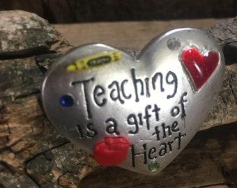 Vintage AJMC pendant, Teaching is a gift of the heart pendant, Teachers gift, vintage pin, vintage brooch, beautiful teaching gift, teachers
