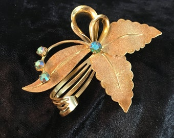 Vintage Western Germany and Aurora Borealis brooch, mid century brooch, goldtone and AB jeweled pin, western germany brooch, mid century pin