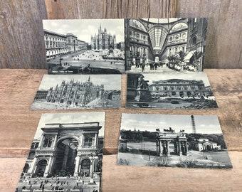 Vintage Milano postcards, set of six unused vintage Milano scenery post cards, vintage black and white postcards, vintage post cards,