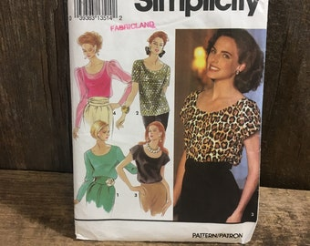 Simplicity 8186 from 1992, vintage Simplicity patternpull over tops from the 90's, great shirt pattern from Simplicity, Simplicity sewing