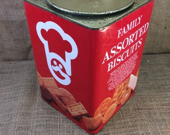 Vintage The Garden Co. Ltd. biscuit tin, Hong Kong biscuit tin, family assorted biscuits, hard to find garden company tin,  tin collectibles