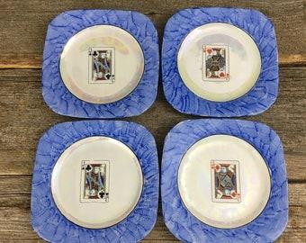 Vintage set of Lusterware, Eleanor Bavaria square Jack designed lusterware plates, vintage square decorative plates, man cave decor, poker