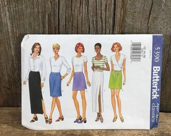 Butterick 5390, partial cut from 2001 sewing pattern, semi fitted straight skirt, mid knee skirt pattern, skirt pattern size 12, 14, 16