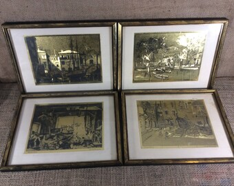 Vintage Lionel Barrymore gold foiled etchings, Little Boatyard Venice, Old Red Bank, Old Boat Work, Courtyard Venice, Lionel Barrymore art