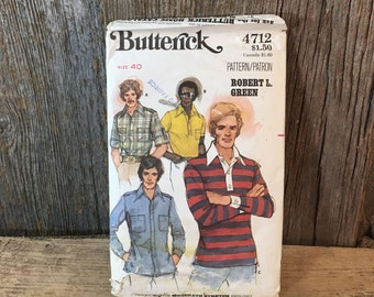 Butterick 4712 pattern from the 1970's, size 40 mens shirt pattern, vintage mens shirt sewing pattern from Butterick 1970's style
