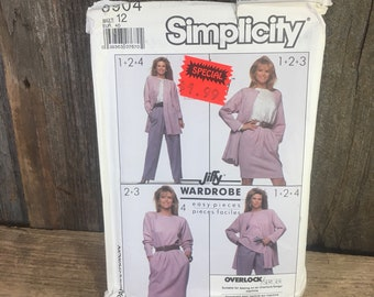 Vintage Simplicity 8904, uncut sewing pattern from 1988, four easy pieces, jiffy wardrobe, size 12 pattern tops, pants, skirt and jacket